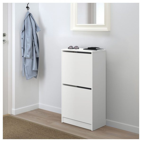 Clothes & shoe storage, White, Shoe cabinet with 2 compartments, Width_ 49 cm, Depth_ 28 cm, Height_ 93 cm, 19 1_4x36 5_8 _